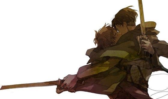 Обои Levi / Леви и Eren Yeager / Эрен Джагер слились в поцелуе из аниме Shingeki no Kyojin / Вторжение гигантов
