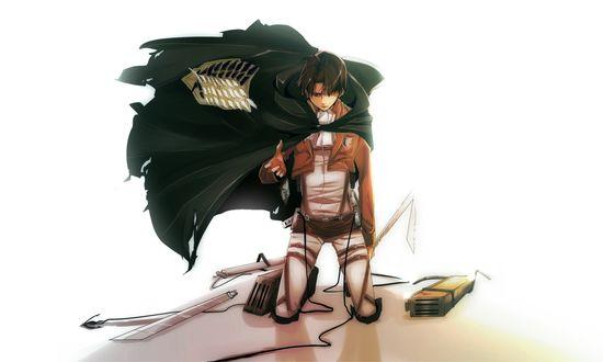 Обои Леви Райвель / Levi Rivaille стоит на коленях из аниме Shingeki no Kyojin / Атака Титанов, Вторжение гигантов