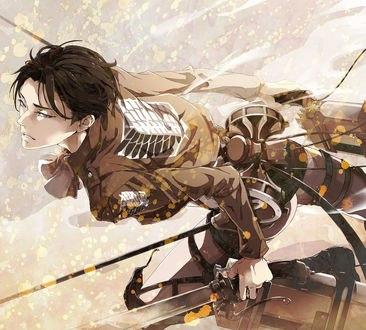Обои Леви Райвель / Levi Rivaille атакует из аниме Shingeki no Kyojin / Атака Титанов, Вторжение гигантов