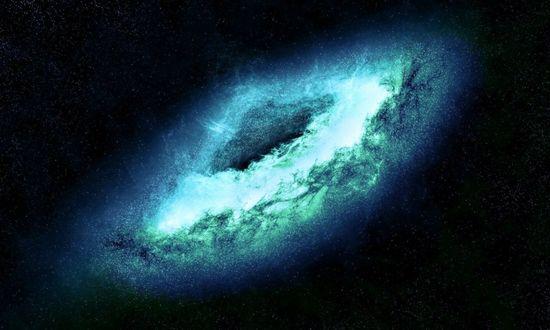 Обои Одна из многочисленных космических галактик в бирюзовом цвете