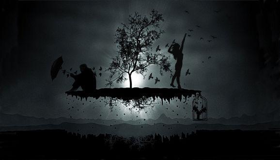 Обои Небольшой остров с деревом, мужчина с зонтом, женщина с клеткой птиц, повисли в воздухе над поверхностью земли ночью при луне, на фоне ночного неба с летающими птицами