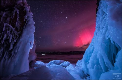 Обои Северное сияние над Байкалом, фотограф Толстнев Станислав