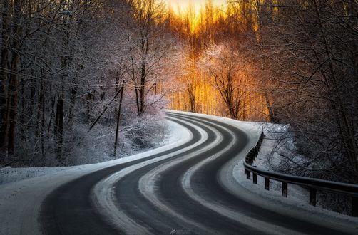 Обои Дорога в зимнее время в Hämeenlinna, Finland / Хямеенлинна, Финляндия, фотограф Lauri Lohi