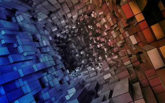 Обои Абстрактный тоннель из разноцветных параллелепипедов