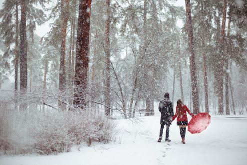 Обои Парень с девушкой прогуливаются под снегопадом, фотограф Khomenko Maryna
