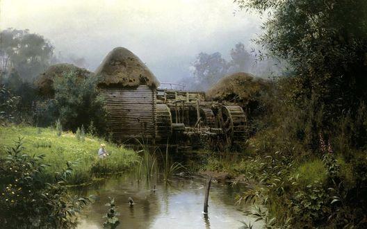 Обои Маленький мальчик рыбачит у реки, где стоит старая водяная мельница