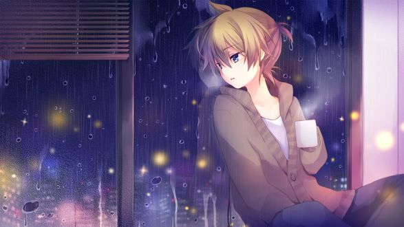 Обои Vocaloid / вокалоид Kagamine Len / Кагамине Лен сидит с кружкой в руке и смотрит в окно на дождливый вечерний город