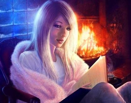 Обои Девушка с книгой сидит у камина, by slshimerdla