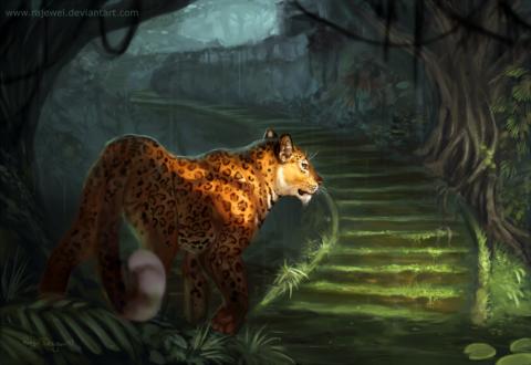 Обои Ягуар стоит перед лестницей, by rajewel