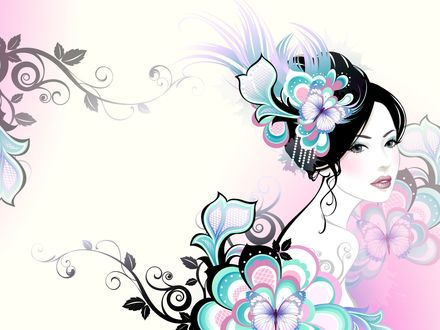 Обои Девушка с цветами в прическе, на платье на фоне узора цветов