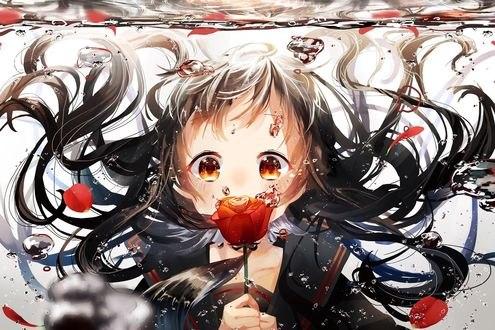 Обои Девушка под водой с розой в руках, автор Yuzua