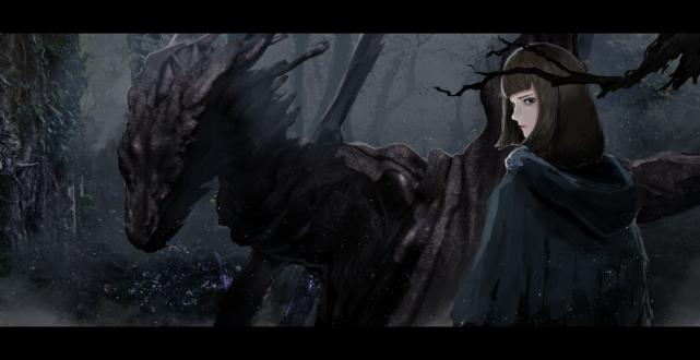 Обои Девушка и дракон в мрачном лесу, автор 桃栗ごはん