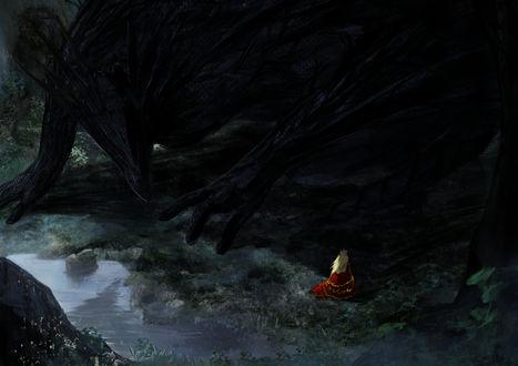 Обои Девушка в красном и дракон, автор 桃栗ごはん
