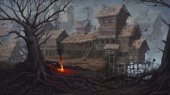 Обои Горящий меч, воткнутый в землю, рядом с мрачной заброшенной деревней из компьютерной игры Темные души / Dark Souls