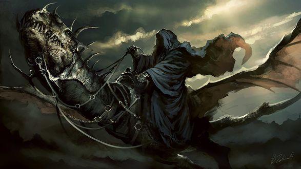 Обои Черный призрак на драконе из игры Властелин колец: Братство Кольца / The Lord of the Rings