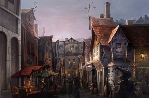 Обои Ведьмы гуляющие по торговой улице в вечернем средневековом городе