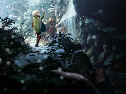 Обои Mhlia Blanco из визуальной новеллы Re:LieF ~Shin'Ai Naru Anata e~ зимой в снегопад, стоя у водопада, ловит снежинки рукой