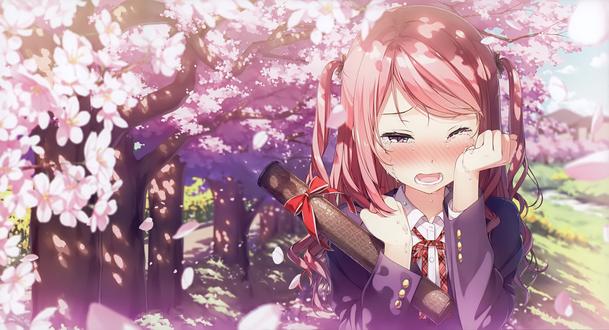 Обои Плачущая девушка на фоне цветущей вишни, автор Kantoku