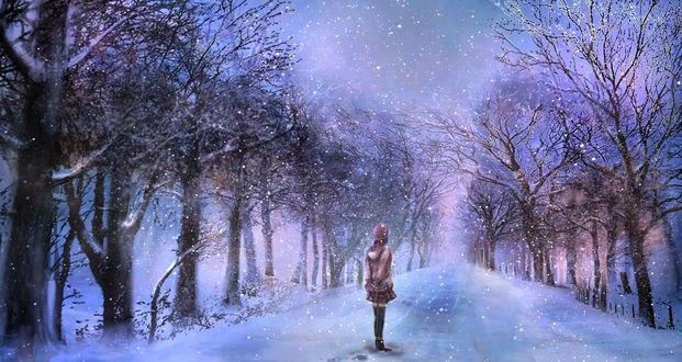 Обои Грустная одинокая девушка стоит на алее в зимнем парке, ожидая любимого, by 00
