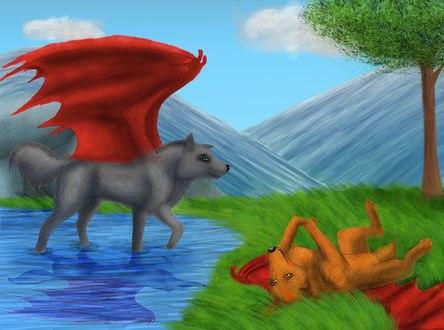 Обои Два волка с красными крыльями отдыхают около воды