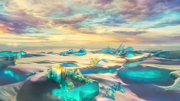 Обои Холодная заброшенная планета с кристаллическими льдами и хрустальным снегом, by exobiology