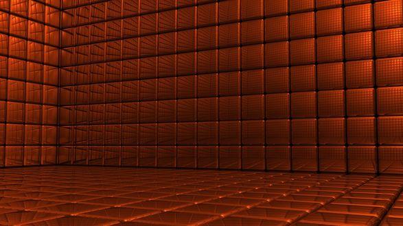 Обои Комната со стенами из красных кубов с зеркальной поверхностью