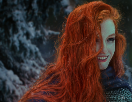 Обои Девушка с ярко-рыжими волосами под падающим снегом, by GreatStefan671