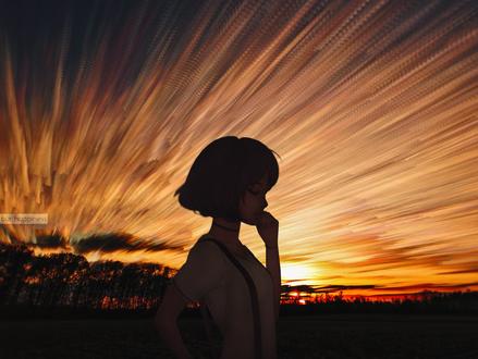 Обои Девушка стоит на фоне заката, by Илья Кувшинов
