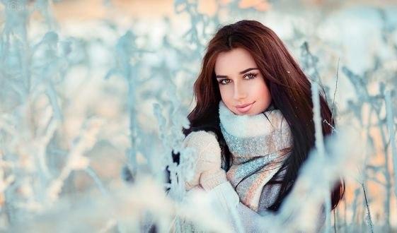 Обои Модель Жанна в варежках на руках, by OlgaBoyko