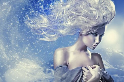 Обои Девушка - зима с оголенными плечами, с развевающимися волосами, by Peter Brownz Braunschmid