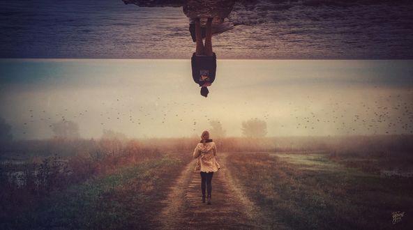 Обои Девушка, идущая по полю, и мужчина стоящий в море, Где бы ты не был я всегда с тобой, by Peter Brownz Braunschmid