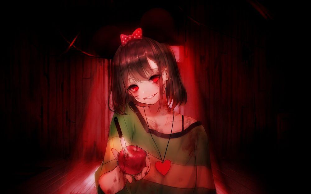 Обои для рабочего стола Чара / Chara из игры Undertale в стиле аниме, улыбаясь, протягивает проткнутое ножом яблоко в крови