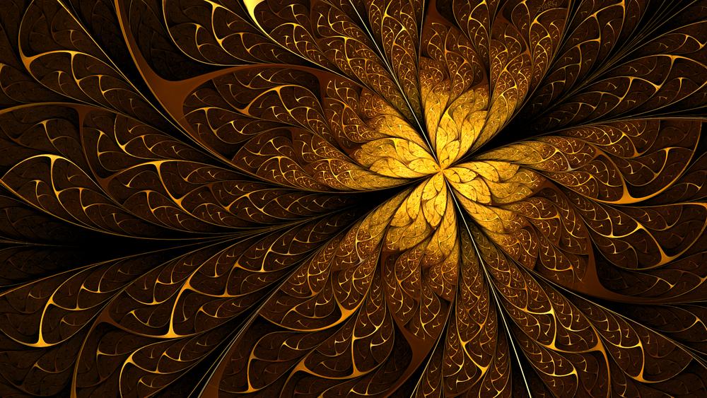 Обои для рабочего стола Абстрактный золотистый цветок