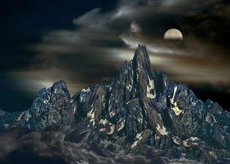 Обои Горы под ночным небом с луной, фотограф Peter Holme III