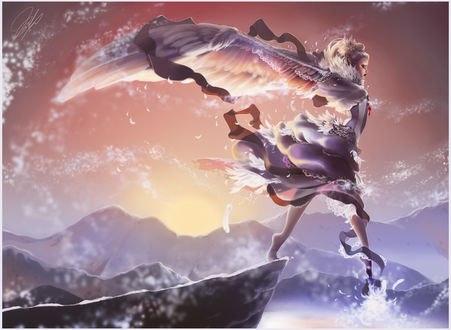 Обои Последний шаг девушки-ангела с обрыва, by kurimja