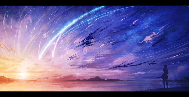 Обои Силуэт Мицуха Миямизу / Mitsuha Miyamizu из аниме Твое имя / Kimi no Na wa / Your Name, любующейся падающими звездами на фоне заката, стоя у воды