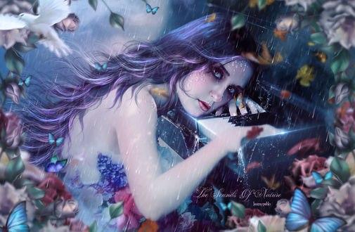 Обои Девушка с сиренево-фиолетовыми волосами и красивыми глазами положила руки и голову на клавиши пианино на фоне дождя цветущих роз летающих бабочек и голубя, by lauraypablo (Laura Leiva)