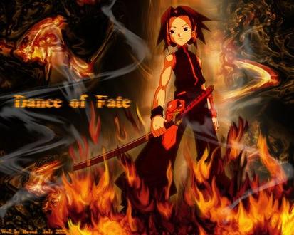 Обои Асакура Е. с мечем из аниме Шаман Кинг (Dance of Fate)