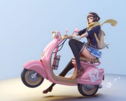 Обои Девушка на мотороллере, by Sangwook Kang
