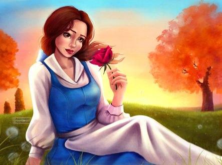 Обои Белль / Belle из мультфильма Красавица и чудовище / Beauty and the Beast, by Asaminert