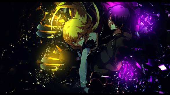 Обои Раненные Кисс-шот Ацерола-орион Харт-андер-блэйд / Kiss-shot Acerola-orion Heart-under-blade и Коеми Арараги / Araragi Koyomi из аниме Истории ран / Kizumonogatari вместе атакуют врага, автор hadiaddict48