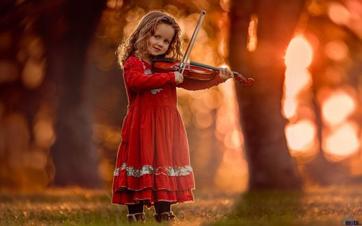 Обои Маленькая кудрявая девочка в красном платье играет на скрипке на размытом природном фоне