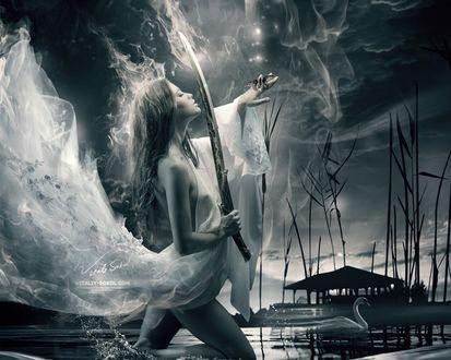 Обои Девушка полуобнаженная прикрытая прозрачной тканью с мечом в одной руке, на другой руке сидит бабочка стоит на колене в воде, где плавает лебедь. Фотограф Виталий Сокол / Vitaly Sokol