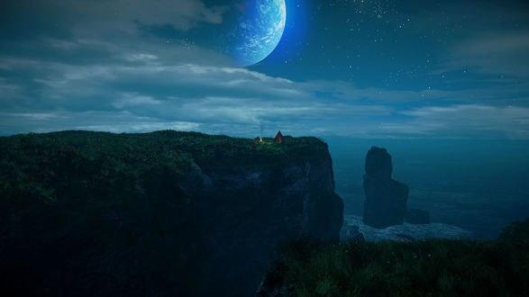 Обои На высоком морском утесе стоит палатка и горит костер на фоне морского пейзажа звездного неба и луны
