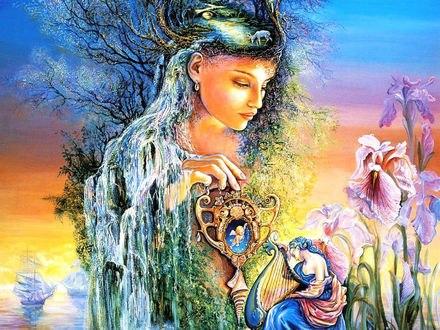 Обои Девушка на голове которой растут деревья, пасется олень, водопад течет по волосам, на груди, спине, деревья, растительность, держит в руках волшебный предмет, касаясь им принца с музыкальным инструментом, цветов, на фоне моря, плывущих кораблей, Ундина, дух воды, автор художница Josephine Wall