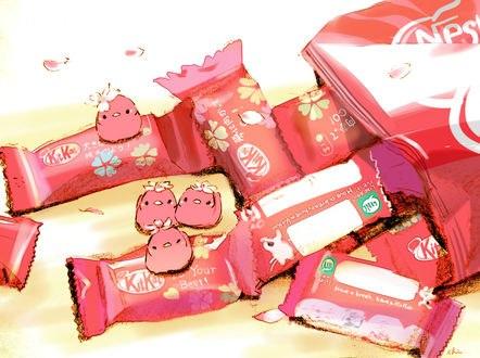 Обои Конфеты Кит Кат и розовые птички, by チャイ