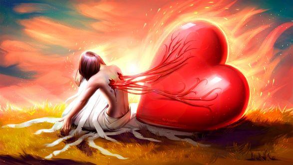 Обои Девушка с рвущимся сердцем из тела