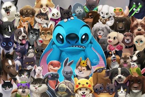 Обои Стич / Stich из одноименного мультфильма Лило и Стич / Lilo and Stitch в толпе животных, art by TsaoShin