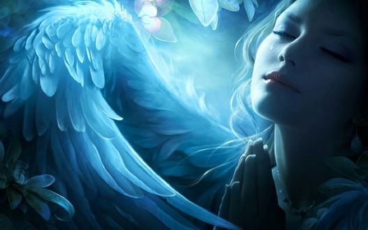 Обои Девушка - ангел со слезой на лице, by ElenaDudina