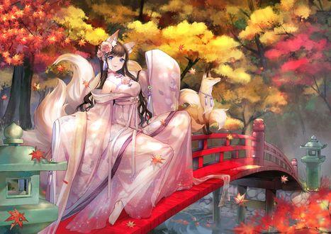 Обои Девушка-лисица Fox girl сидит на перилах красного моста на фоне осенних деревьев